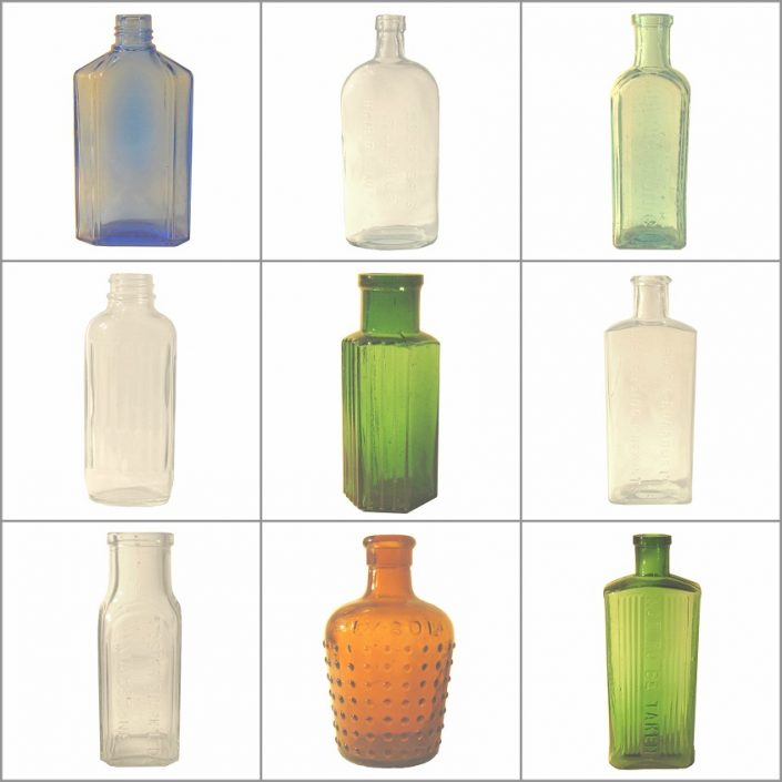 Vintage Glass Medicine Bottles Hire Collection
