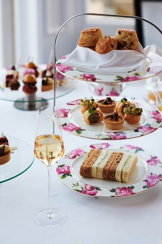 Afternoon tea finger sandwiches on a 3-tier cake stand